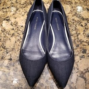 Marc Fisher Shoes - Marc Fisher 10 Denim Blue Stud Pointed Toe Flats